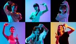 Finger framing. Portraits of young people on multicolored background in neon light. Flyer, collage made of 6 models. Concept of emotion, ad, facial expression, sales, advertising. Trendy colors
