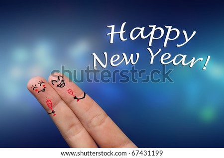 Finger hug with Abstract Lights and painted smiley, Happy New Year