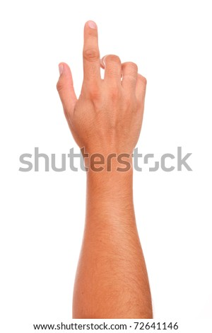 finger in position of pressing a button  over white background