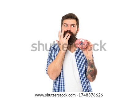 Finger licking good snack. Bearded man eat donut isolated on white. Hipster enjoy sweet snack. Enjoying snack break. Unhealthy food and snacking. Diet and dieting. Fun snack. Quick and sweet.