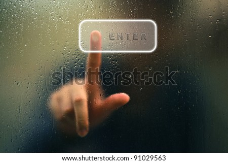 finger point as blur and water drop as abstract style