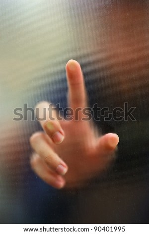 finger point as blur motion background
