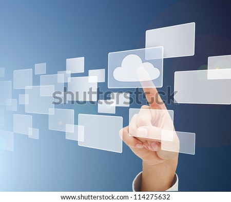 Finger pointing a square with a cloud against blue background - stock photo