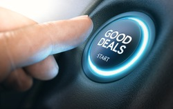 Finger pressing a car start button with the text good deals. Concept of automotive offers and discounts. Composite between a photography and a 3D background. Horizontal image