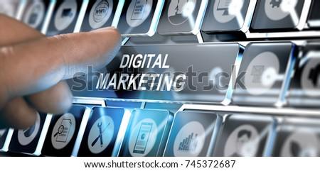 Finger pressing a futuristic interface with the text digital marketing. Concept of online business. Composite between a photography and a 3D background