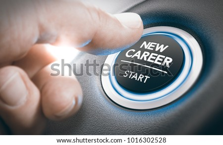 Finger pressing a new career start button. Concept of occupational or professional retraining or job opportunities. Composite between a hand photography and a 3D background #1016302528