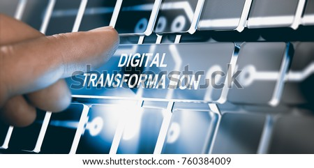 Finger pressing an interface with the text digital transformation. Concept of digitization of business processes. Composite between a photography and a 3D background #760384009
