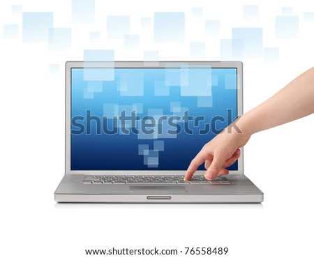 Finger pressing key on laptop, isolated on white