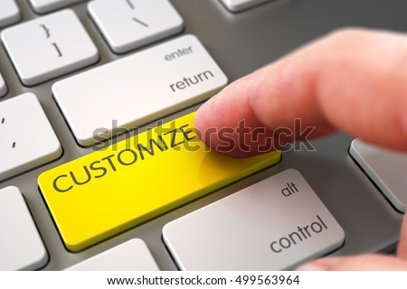 Finger Pressing on Slim Aluminum Keyboard Yellow Keypad with Customize Sign. 3D. ストックフォト ©