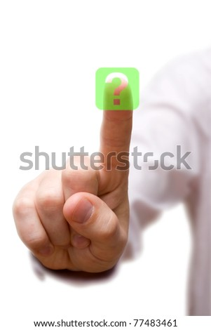 finger pressing Question Button on white background. - stock photo