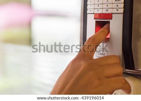 Finger print scan for enter security system.