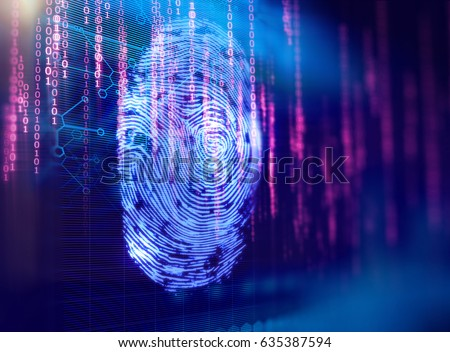 Finger print Scanning Identification System. Biometric Authorization and Business Security Concept.