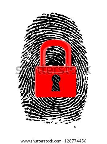 Finger Print with closed, red u-lock illustration design over white
