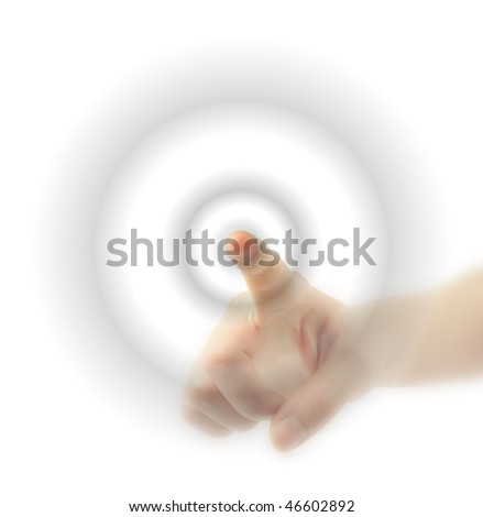 finger pushing a blank button - stock photo