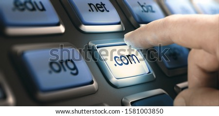 Finger pushing a button on a conceptual dashboard with domain extensions. Composite image between a finger photography and a 3D background. Stock photo ©