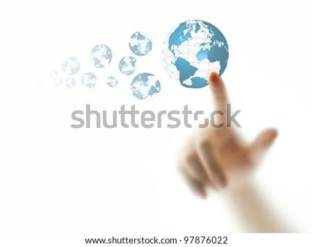 Finger pushing blue wire globe icon