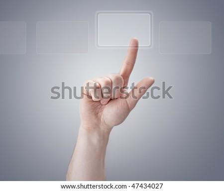 finger pushing button