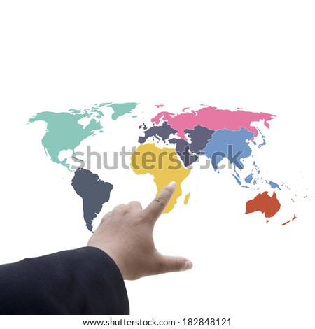 Finger pushing button on  world map