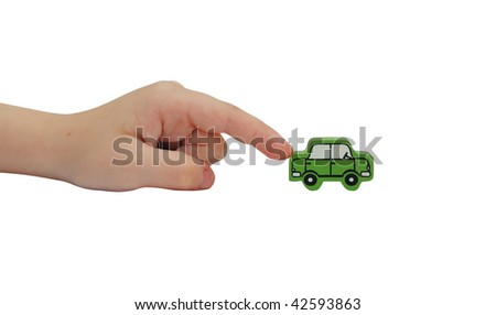 finger pushing on a wooden car isolated on white