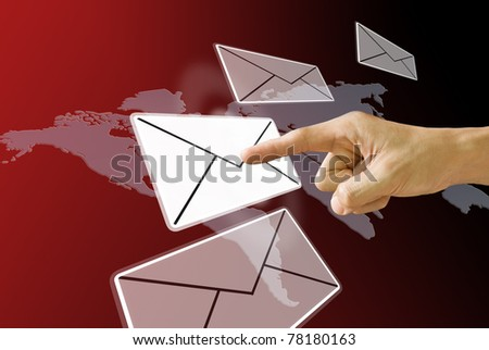 Finger pushing the email, Concept