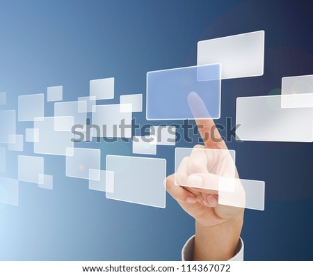 Finger selecting square from digital menu in blue