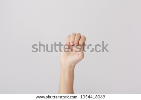 Finger Spelling the Alphabet in American Sign Language (ASL). The Letter E #1054418069