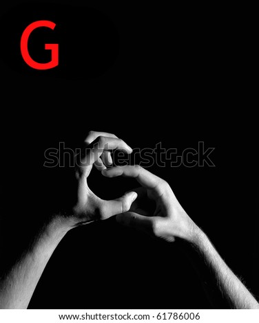 "Finger Spelling the Alphabet - Letter ""G"" - stock photo"