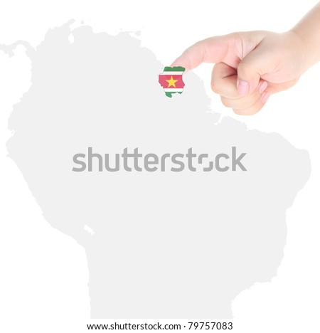 Finger touch on a future innovative transparent screen display map and flag of Suriname