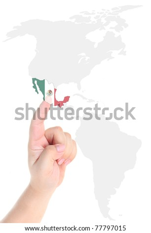 Finger touch on a future innovative transparent screen display Mexico flag map