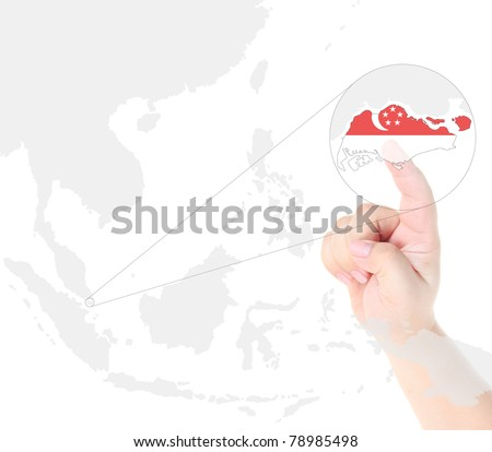 Finger touch on a future innovative transparent screen display Singapore map and flag