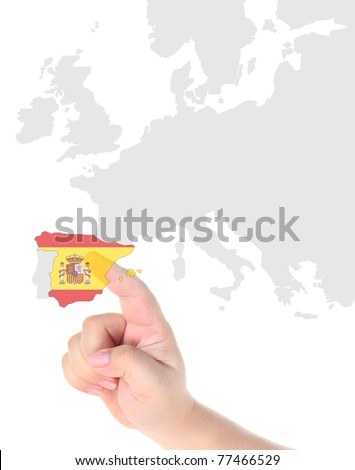 Finger touch on a future innovative transparent touch screen display Spain map and flag