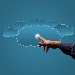 finger touches the clouds, the concept of cloud computing, place for text