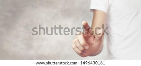 finger touches virtual screen press