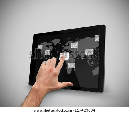 Finger touching at a message symbol at the tablet pc