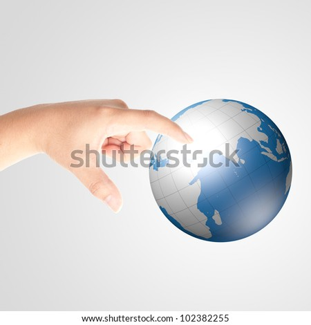 Finger touching digital globe for social and internet connectivity concept