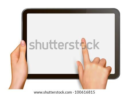 Finger touching digital tablet screen. Raster version of vector. - stock photo