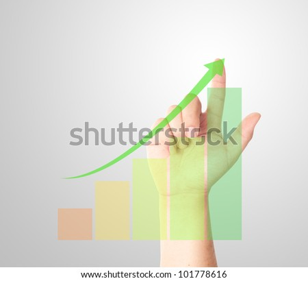 Finger touching on rising bar chart with arrow