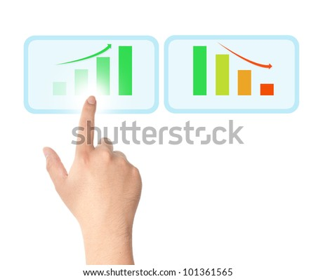 Finger touching on touch screen icon with bar chart for business growth concept