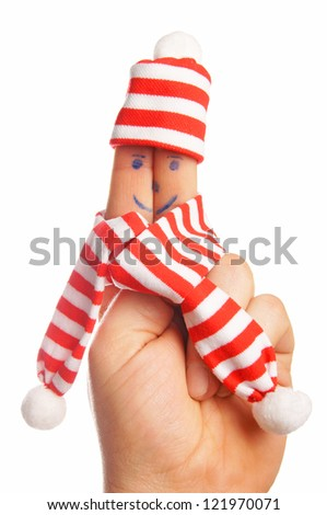 Finger with hat and scarf