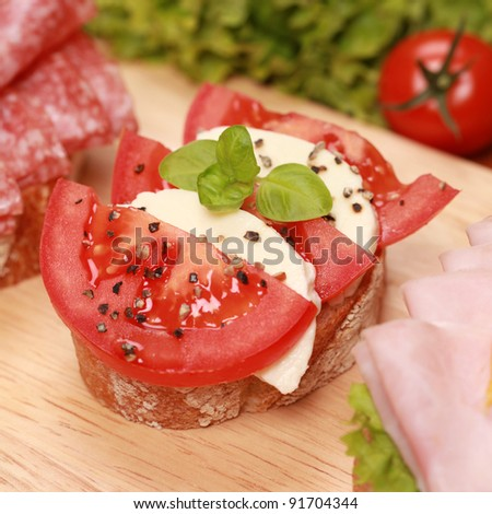 Fingerfood topped with fresh mozzarella cheese and tomatoes - stock photo