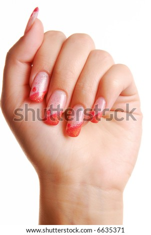 Fingernail. Beautiful Woman hand.  Cosmetic.
