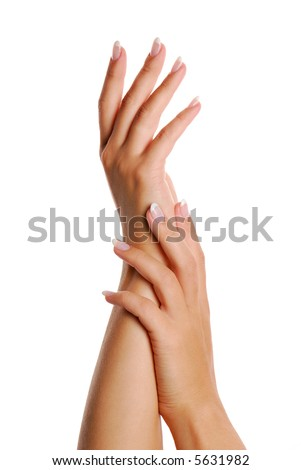 Fingernail. Woman hand. Manicure and Gesturing. Isolated.