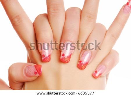 Fingernails. Beautiful Woman hand. Manicure.