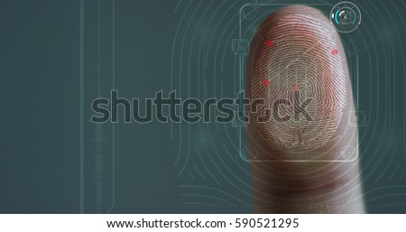 fingerprint leaning on control glass for biometric scan. concept of surveillance and security through human fingerprints in the future of digital technology.