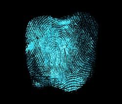 Fingerprint on black background. Fingerprint with ultraviolet lamp.