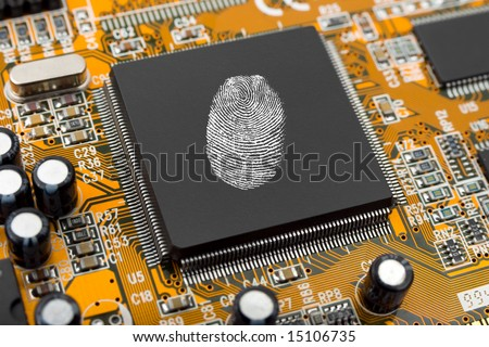 Fingerprint on computer chip, technology security concept background