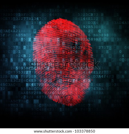 Fingerprint on digital screen 3D render