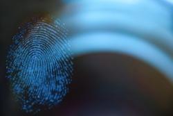 Fingerprint on glass, forensics, detective