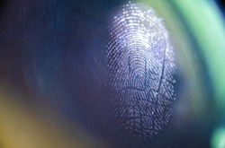 Fingerprint on glass macro photo