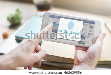 Fingerprint Password Biometrics Technology Concept #462639556